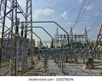 Outdoor with high voltage switchgear in electrical substation.