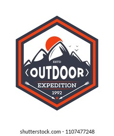 Outdoor hiking expedition vintage isolated badge. Summer camp symbol, mountain explorer, touristic camping label, nature wildlife illustration.