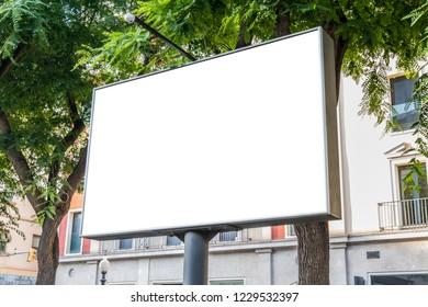 Outdoor horizontal billboard with natural city landscape mockup