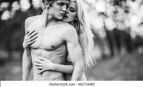 outdoor hot couple portrait, fashion model, kiss, love, hot, man, together, boyfriend, blonde, street