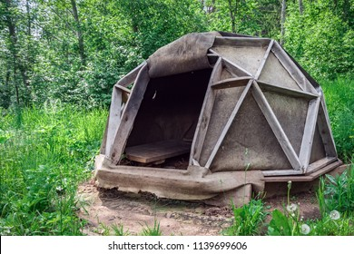 Outdoor Indian sauna inipi. Bath house in the nature