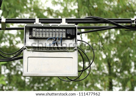 outdoor junction box telephone cable 450w 111477962 outdoor junction box telephone cable stock photo (edit now