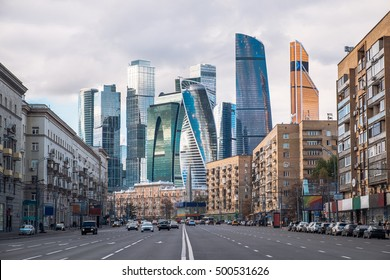 Outdoor landscape of Moscow architecture with modern skyscrapers and old city, Russia. Moscow business center, Russia. Architecture landmarks of Moscow. Travel Russia and explore urban Moscow city