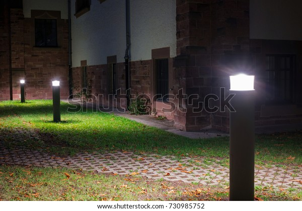 Outdoor Lights Lanterns Bollards Front Old Stock Photo Edit Now 730985752