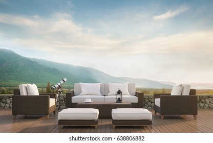 Outdoor living with mountain view 3d rendering image.Decorate with rattan furniture There are wooden floor,stone wall and surrounding with nature and mountains