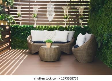 Outdoor living.Living corner in the garden outside the house