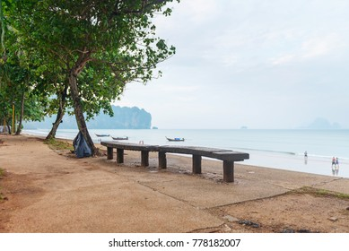 Outdoor long wooden bench along a walkway under a tree next to the beach with a cloudy sky and boats in the background