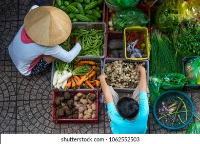 Outdoor markets in the streets of Saigon, Vietnam