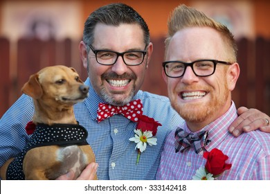 Outdoor marriage ceremony for male gay couple