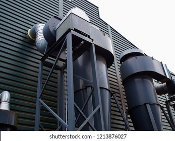 Outdoor metall air ducts ventilation system of a factory modern industry background image