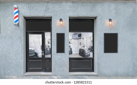 Outdoor mockup,store template,front view black barber shop facade with windows display and posters.