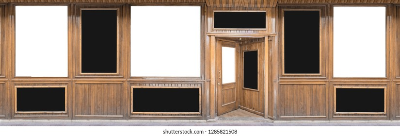 Outdoor mockup,store template,front view wooden shop facade with windows display and posters.