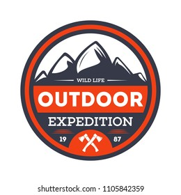 Outdoor nature expedition vintage isolated badge. Summer camp symbol, mountain and forest explorer, touristic camping label, wildlife illustration.