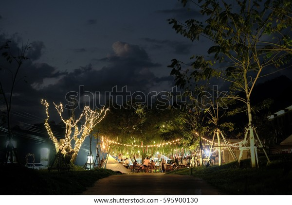 Outdoor night party in the garden