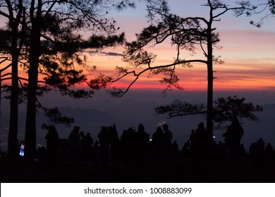 Outdoor panoramic scenic view of beautiful atmospheric attractive environmental sunset at Phu kradueng national park, Loei, Thailand crowded with tourists and silhouette pine trees as foreground