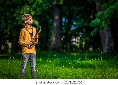 in an outdoor park, a young boy holding a saxophone in his hands smarts in front of him, rehearsing outside the house, a young musician