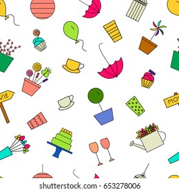 Outdoor party pattern. Birthday, garden, tea party line icons.