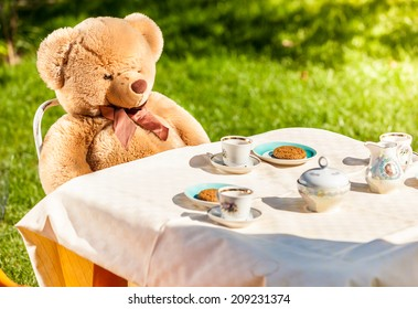 Outdoor photo of teddy bear sitting at yard and having english breakfast
