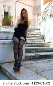 Outdoor photosession of Russian beauty woman in Moscow