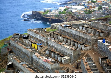 Outdoor pigs farm facilities panoramic view with miniaturize effect in Ponta do Sol - a town in the island of Santo Antao (São Antão), Cape Verde, Africa