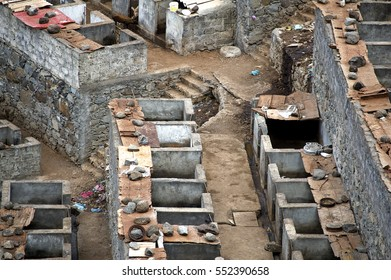 Outdoor pigs farm facilities in Ponta do Sol - a town in the island of Santo Antao (São Antão), Cape Verde, Africa. Close-up image