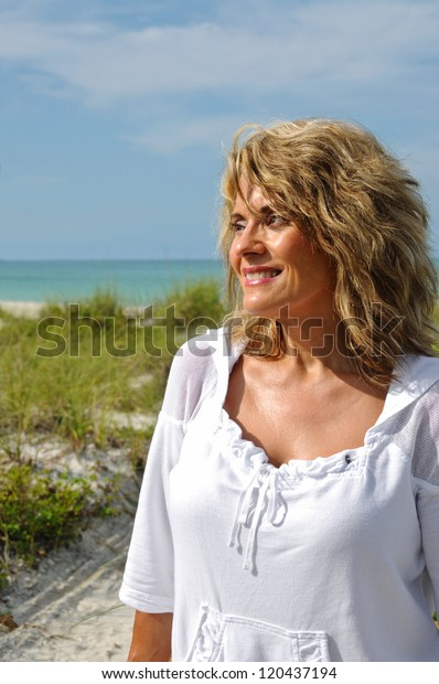 Outdoor Portrait of an Attractive Middle Aged Woman