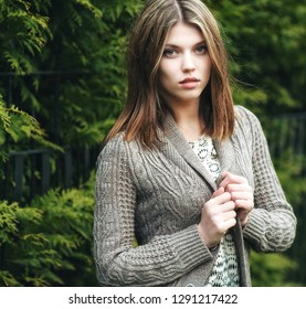 Outdoor portrait of calm beautiful girl - close up