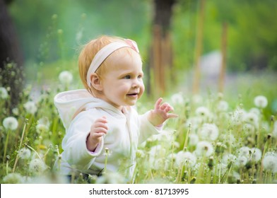 Outdoor portrait of a cute little baby in the grass