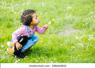 Outdoor portrait of a cute toddler black girl blowing a dandelion flower - African american or mexican ethnicity concept.