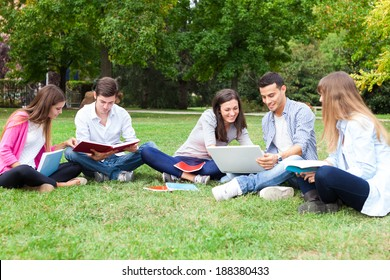 Outdoor portrait of a group of students