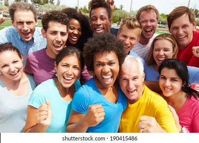 Outdoor Portrait Of Multi-Ethnic Crowd