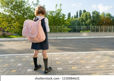 Outdoor portrait of a small student, girl with glasses, uniform with backpack. School, education, knowledge and children. Back view, copy space