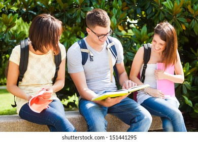Outdoor portrait of three smiling students talking in a park
