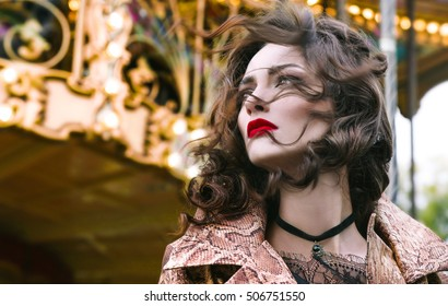Outdoor  portrait of woman posing over christmas holiday background,amazing woman with curly hair,red lips,Fashion Lady with Beautiful Luxury Hairstyle,makeup,accessories,black Choker,xmas fair,Paris