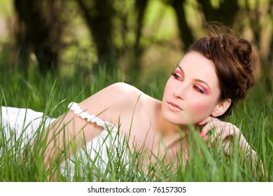 outdoor portrait of the young beautiful girl