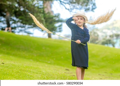 outdoor portrait of young child girl on blurred natural background