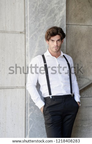 fa72cd6a4 Outdoor Portrait Young Elegant Man Black Stock Photo (Edit Now ...