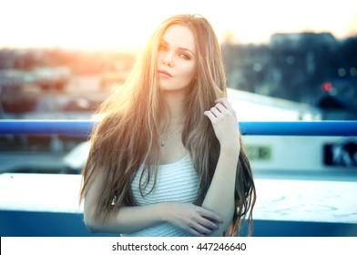 Woman Outdoor Sun Images Stock Photos Vectors Shutterstock