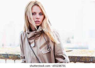 Outdoor portrait of young sensual woman