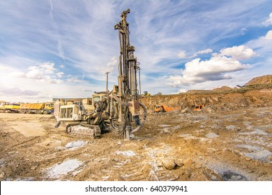 Outdoor quarry with heavy machinery
