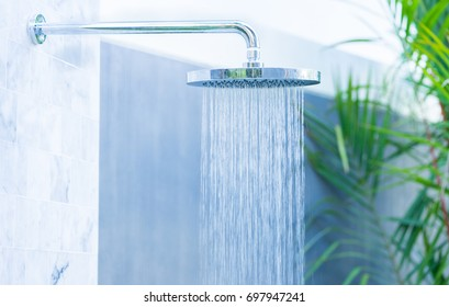 Outdoor rain shower in the beach for swimming pool.