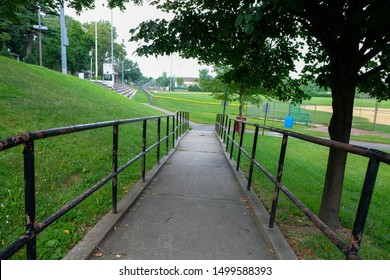 Outdoor ramp park railing. Ramp in park and recreation background.