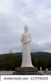 Outdoor religious whitish marble statue of Guan yin  buddhist goddess standing on brownish stone lotus with dark mountainside behind as background
