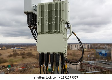 Outdoor remote radio unit of GSM DCS UMTS LTE is as part of communication equipment of basic station are installed on the tubular mast on the roof