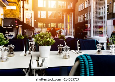 Outdoor restaurant beautiful terrace tables and chairs in london