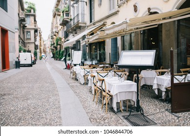 Outdoor restaurant in the old european street