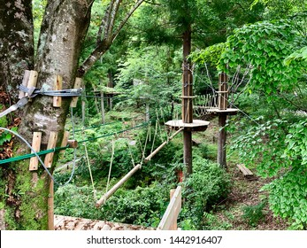 Outdoor rope obstacle course in the woods in Minokamo city Japan