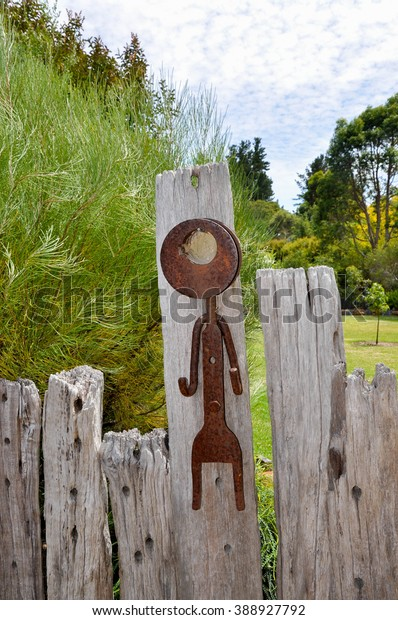 Outdoor Rusted Metal Garden Decor Stick Stock Photo Edit Now