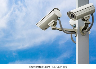 Outdoor security CCTV on the pole with blue sky background.