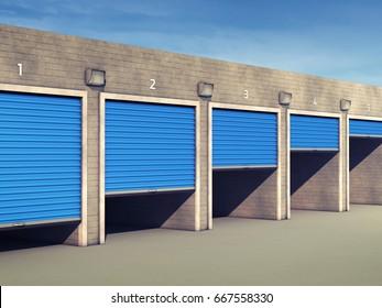 Outdoor self storage units , Storage rental facility , 3d illustration